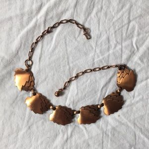 Vintage copper leaves autumn neckless